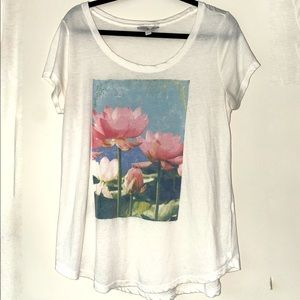 Lucky Brand Lotus Soft T-Shirt W/ Pink Flower